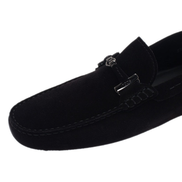 Tod's Black Suede Horsebit Buckle Loafers Size 43.5