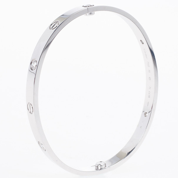 Cartier Love 4 Diamonds White Gold Bracelet 19 CM
