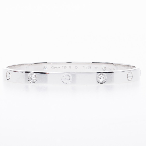 Cartier Love 4 Diamonds White Gold Bracelet 19 CM