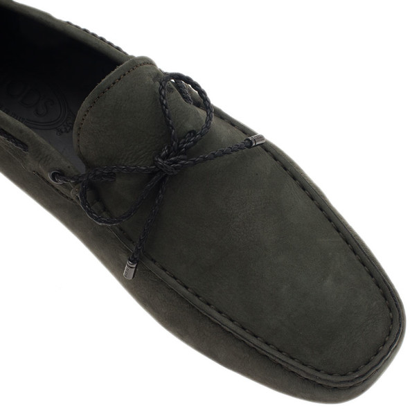 Tod's Dark Green Suede Bow Loafers Size 45