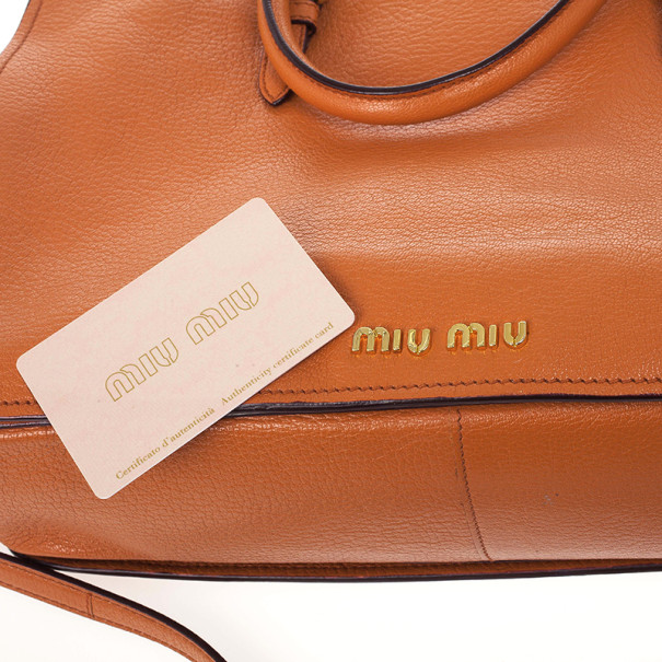 Miu Miu Papaya Madras Executive Tote