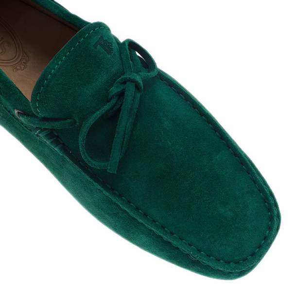 Tod's Forest Green Suede Bow Loafers Size 42