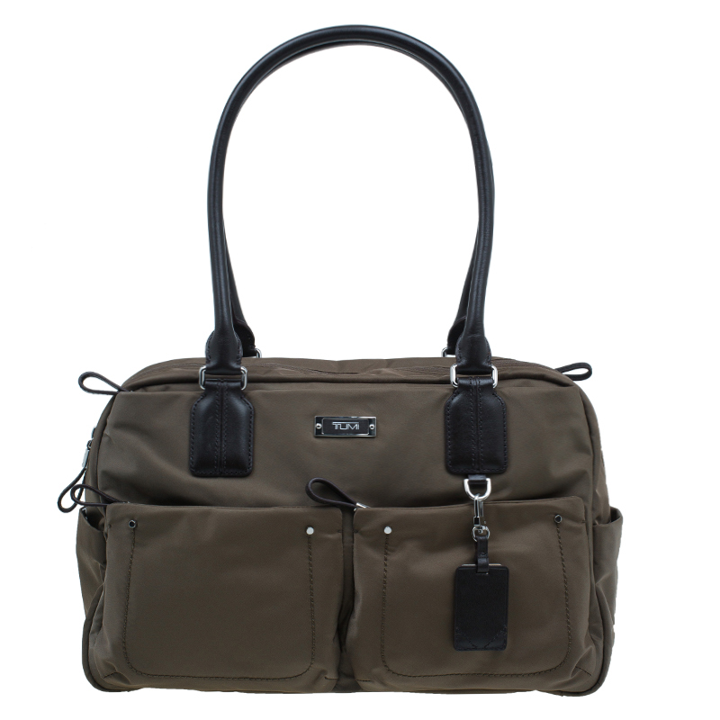 Tumi Fatigue Green Nylon Voyageur Geneva Carry All Bag