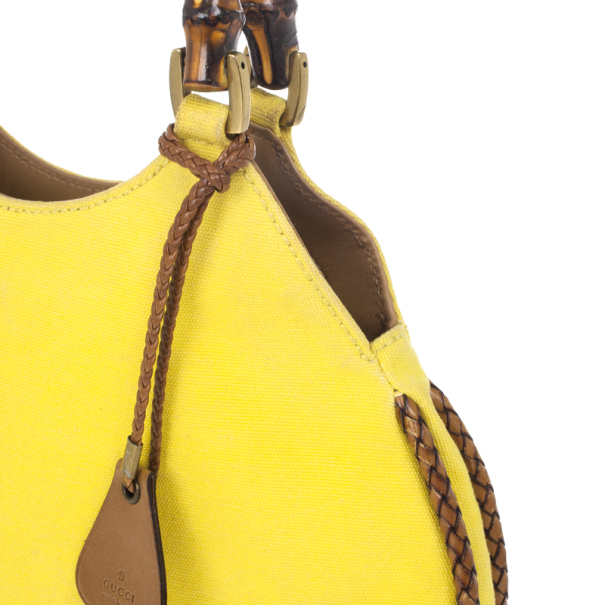 Gucci Yellow Bamboo and Woven Trim Hobo