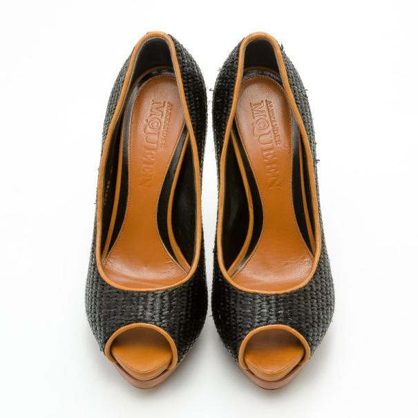 Alexander McQueen Black Raffia Peep Toe Pumps Size 38