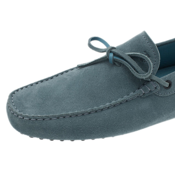Tod's Sky Blue Suede Bow Loafers Size 42.5