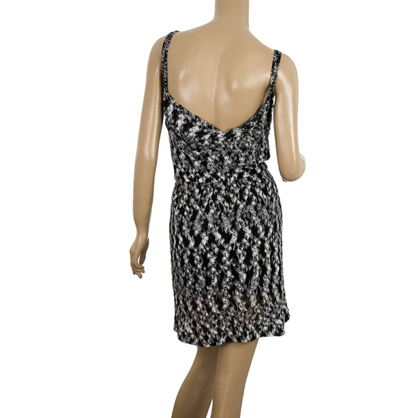 Missoni Black Cherene Sequined Crochet Knit Mini Dress S