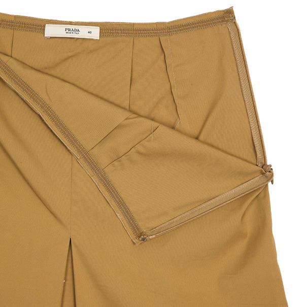 Prada Khaki Single Box Pleat Skirt S