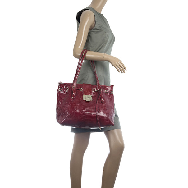 Jimmy Choo Red Lizard Embossed Patent Leather Rhea Shopper Tote Bag