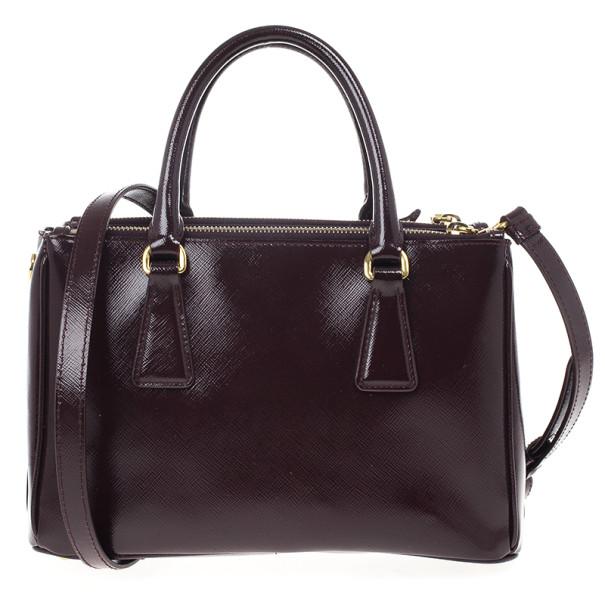 Prada Maroon Saffiano Leather Tote