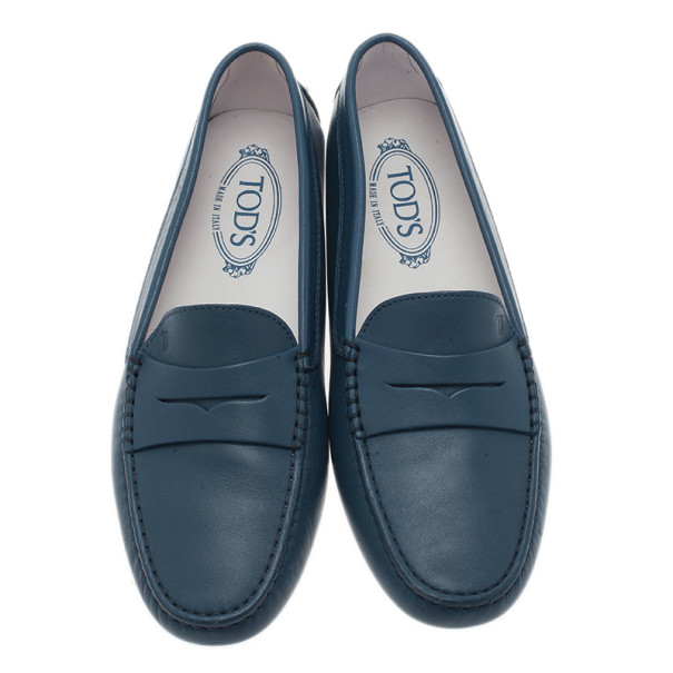 Tod's Blue Leather Penny Loafers Size 40