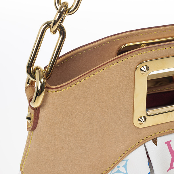 Louis Vuitton White Monogram Multicolor Coated Canvas 'Judy PM' Vintage Shoulder Bag