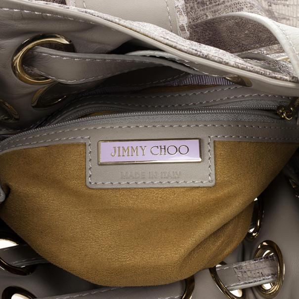 Jimmy Choo Grey Lizard Embossed Biker Ramona Tote