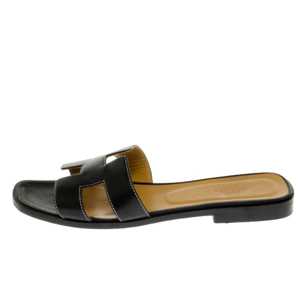 Hermes Black Leather Oran Box Sandals Size 39