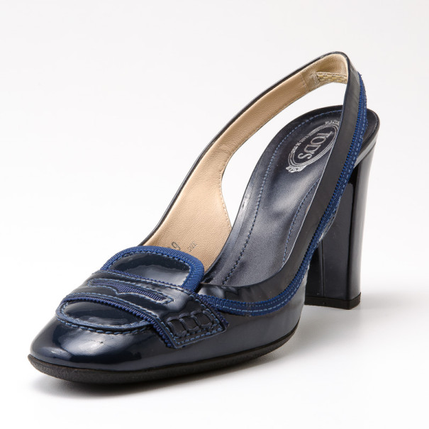 Tod's Blue Patent Leather 'Jodie' Penny Loafer Slingback Sandals Size 39