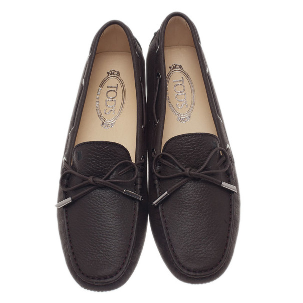 Tod's Brown Leather Bow Loafers Size 40.5