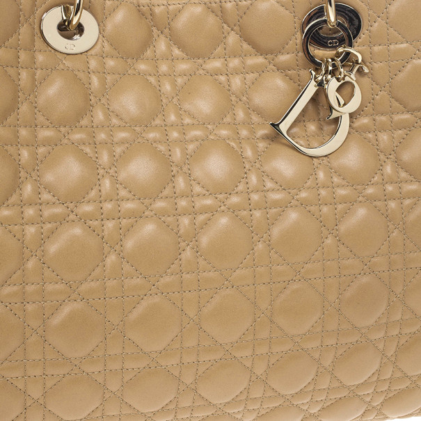 Dior Beige Lady Dior Cannage Soft Shopper Tote