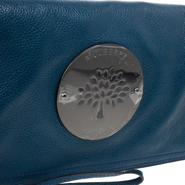 Mulberry Blue Metallic Spongy Pebbled Daria Clutch