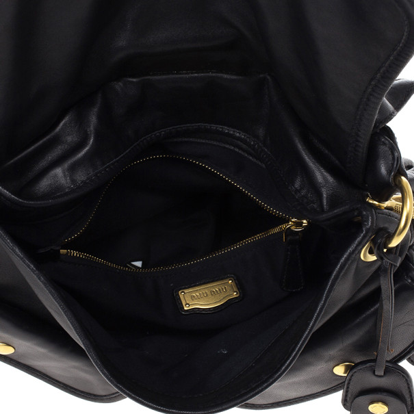 Miu Miu Black Coffer Matelasse Leather Hobo