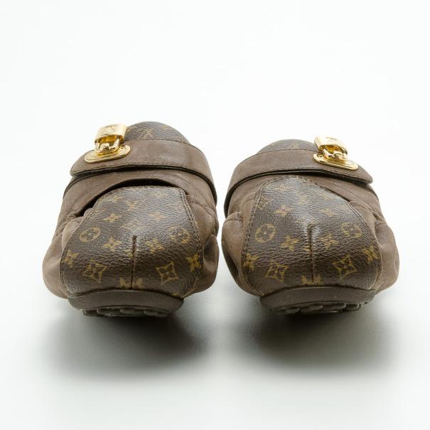 Louis Vuitton Monogram Canvas and Iridescent Calf Leather Lucky Ballet Flats Size 37.5