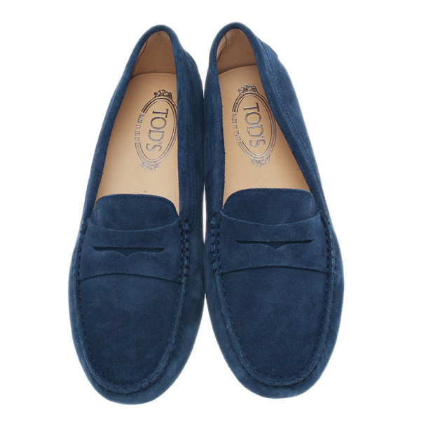 Tod's Blue Suede Penny Loafers Size 40