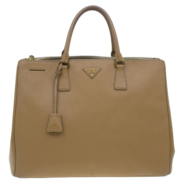 Prada Camel Brown Saffiano Large Double Zip Tote
