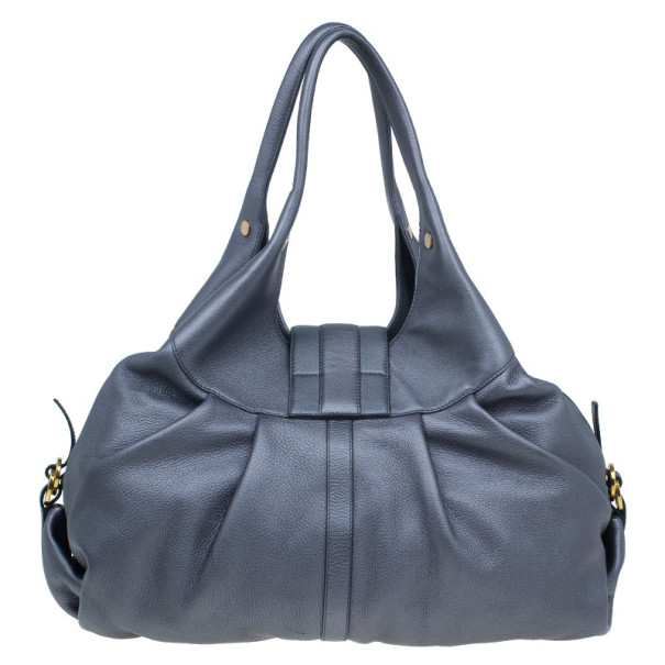 Bvlgari Grey Leather Medium Chandra Shoulder Bag