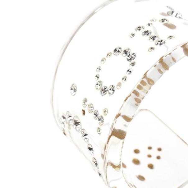 Christian Dior Vintage Lucite Crystal Clear Bangle 18 CM