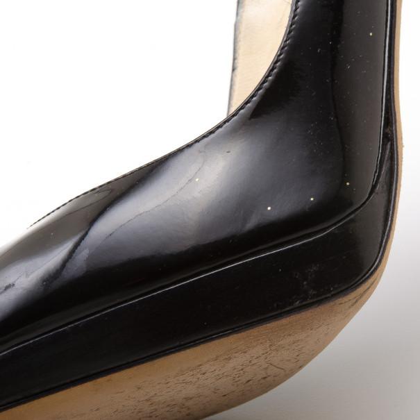 Jimmy Choo Black Patent Peep Toe Pumps Size 38.5