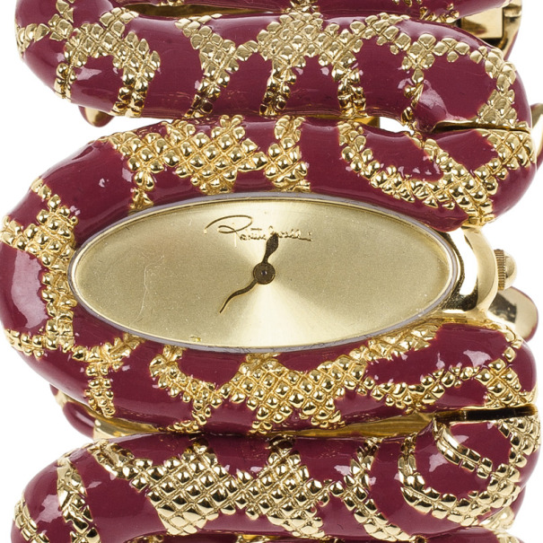 Roberto Cavalli Red Cleopatra Gold Plated Steel Womens Wristwatch 30M
