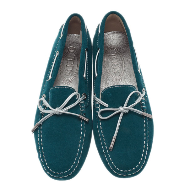 Tod's Turquoise Suede Bow Loafers Size 38