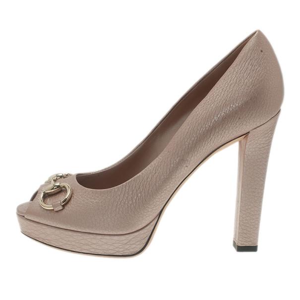 Gucci Pink Metallic Leather Horsebit Peep Toe Platform Pumps Size 39.5