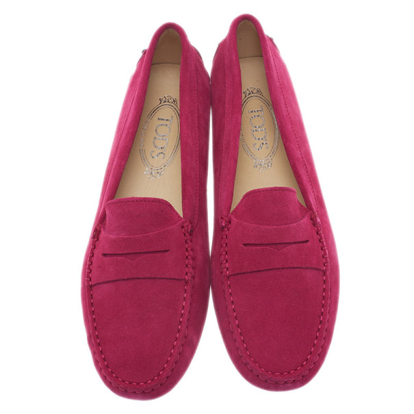 Tod's Pink Suede Penny Loafers Size 40