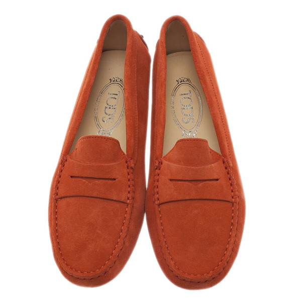 Tod's Orange Suede Penny Loafers Size 39