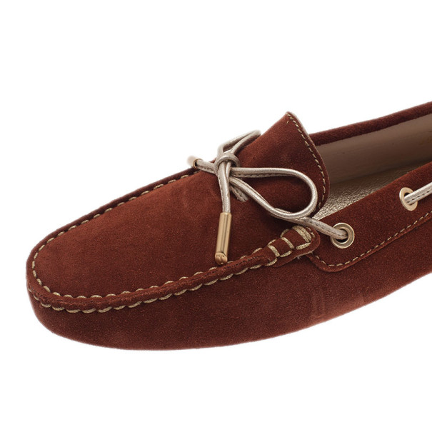 Tod's Brown Suede Bow Loafers Size 39.5