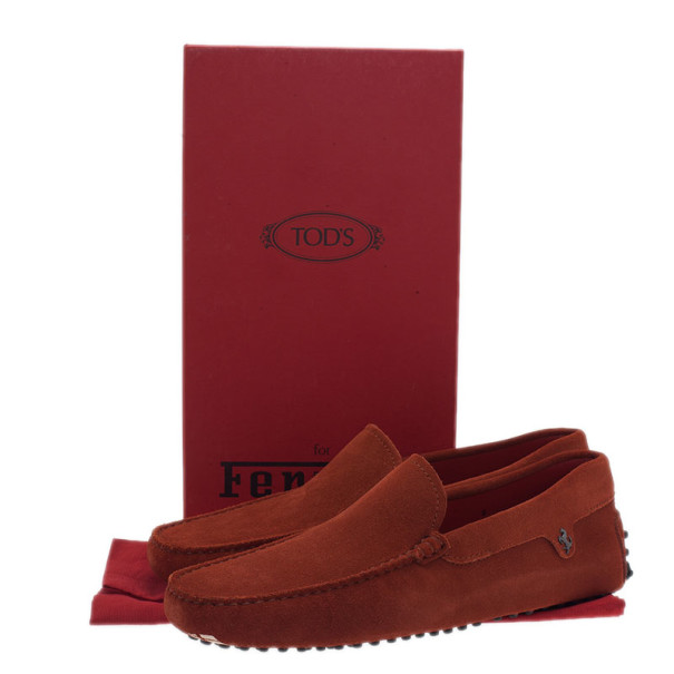 Tod's for Ferrari Orange Suede Limited Edition Gommino Loafers Size 42