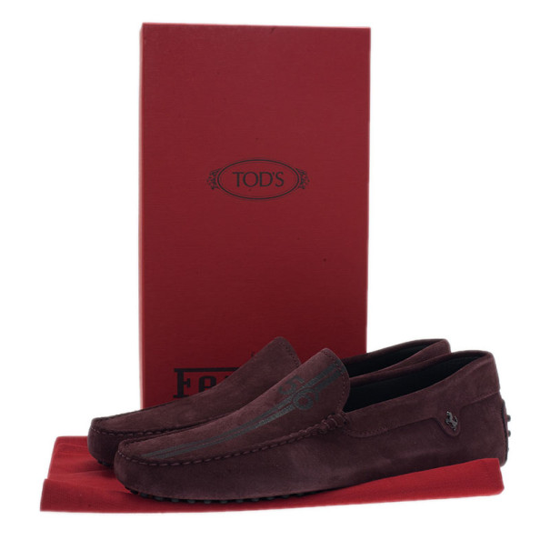 Tod's for Ferrari Brown Suede Limited Edition Gommino Loafers Size 42.5