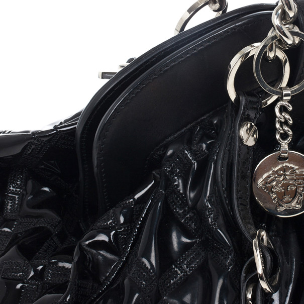Versace Black Patent Chain Link Handle Satchel