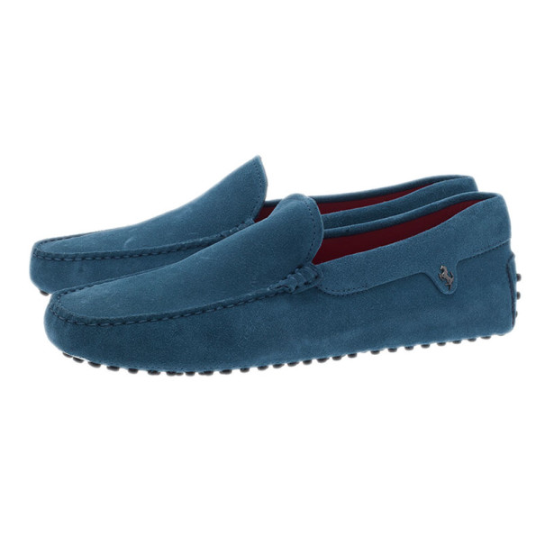 Tod's for Ferrari Blue Suede Limited Edition Gommino Loafers Size 42