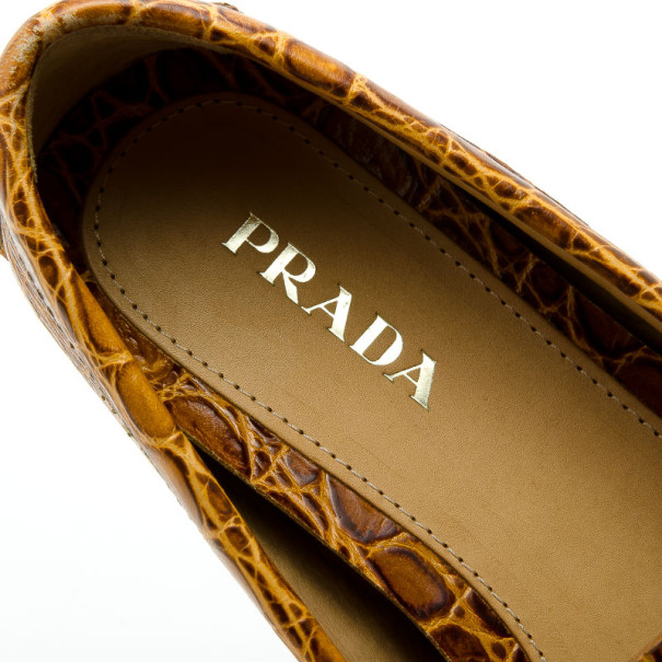 Prada Brown Croc Embossed Leather Loafers Size 37