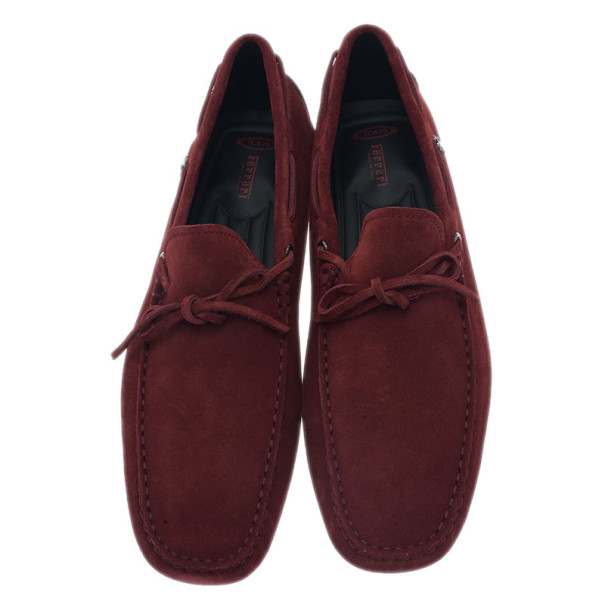 Tod's for Ferrari Maroon Suede Limited Edition Gommino Loafers Size 42.5