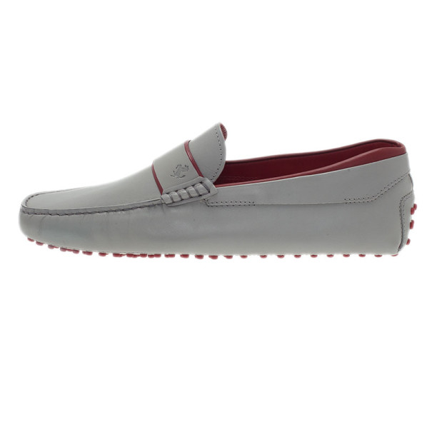 Tod's for Ferrari Grey Leather Gommino Loafers Size 43.5