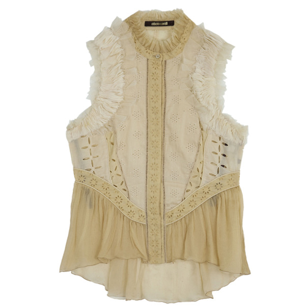 Roberto Cavalli Silk Chiffon Broderie Anglaise Top Size M
