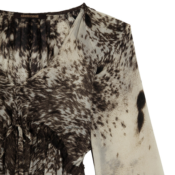 Roberto Cavalli Printed Long Sleeve Top Size M
