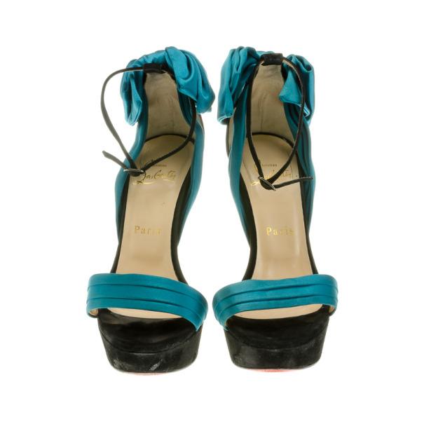 Christian Louboutin Turquoise Vampanodo Satin Bow Sandals Size 37