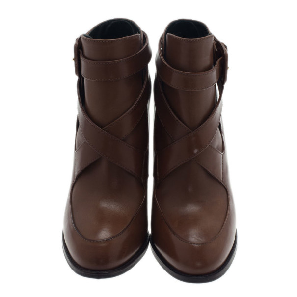 Tod's Brown Leather Cross Strap Ankle Boots Size 39