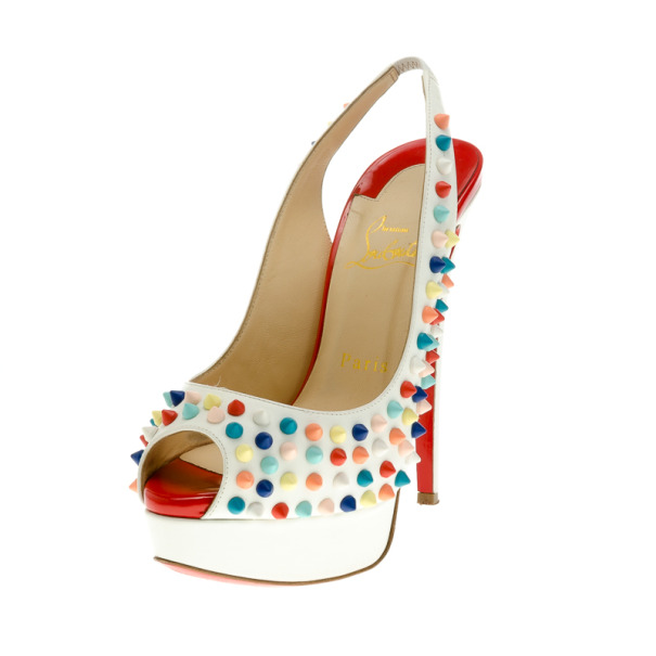Christian Louboutin White Leather Lady Peep Multicolor Spikes Slingback Sandals Size 37.5