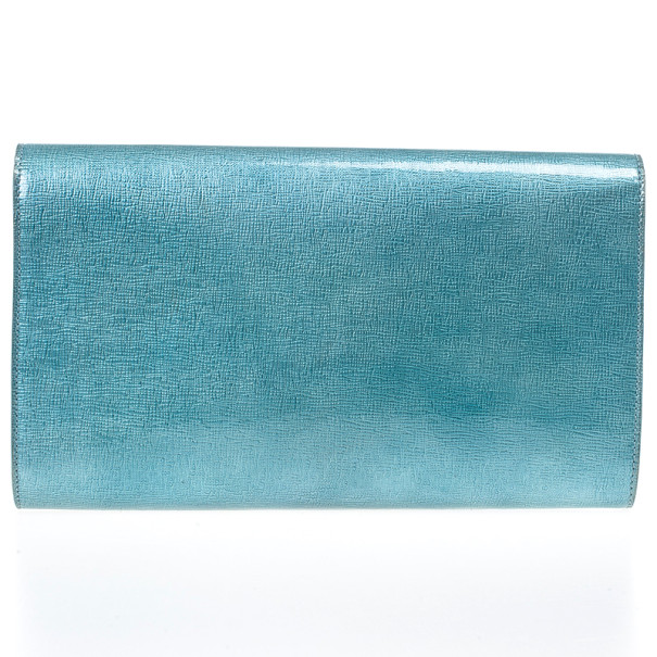 Yves Saint Laurent Blue Patent 'Belle De Jour' Flap Clutch