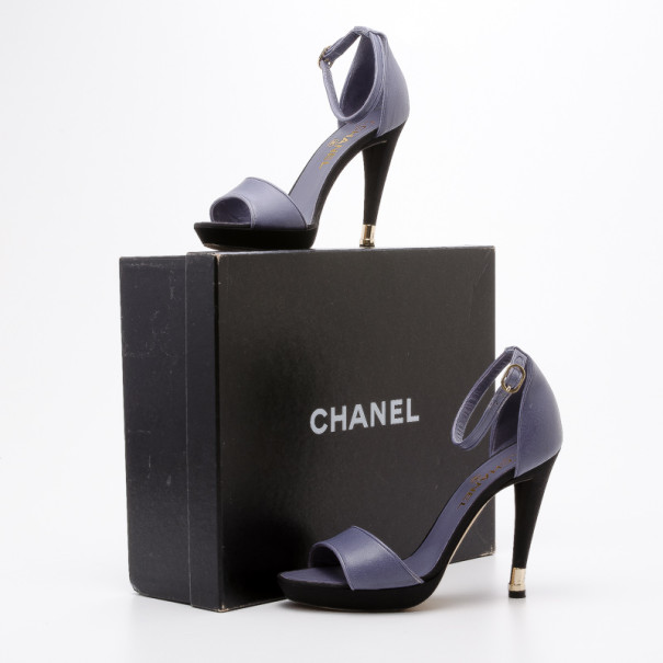 Chanel Lavender Leather Ankle Strap Sandals Size 38