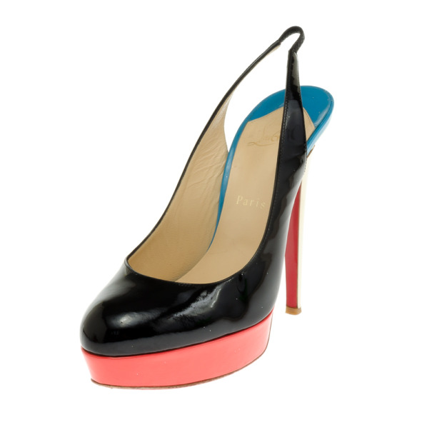 Christian Louboutin Tricolore Bianca Platform Slingback Sandals Size 39.5